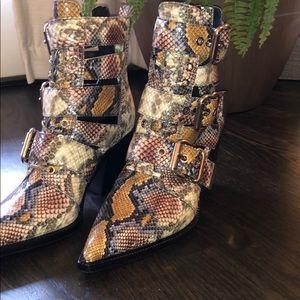 Never worn Jeffery Campbell snakeskin booties